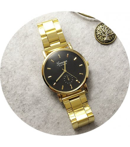 W2251 - Black dial Gold Strap Watch
