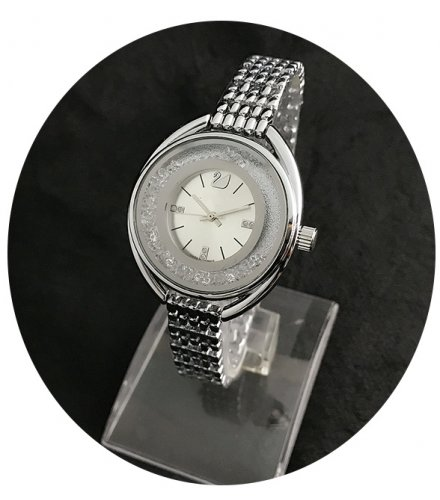 W2449 - Silver Rhinestone Oval Watch