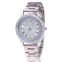 W2943 - Roman scale ladies diamond steel belt watch