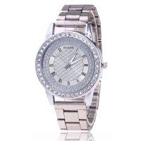 W2943 - Roman scale ladies diamond steel belt watch