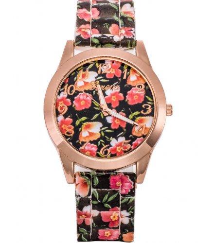 W2945 - Geneva floral silicone casual Watch