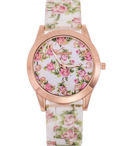 W2946 - Geneva floral silicone casual Watch