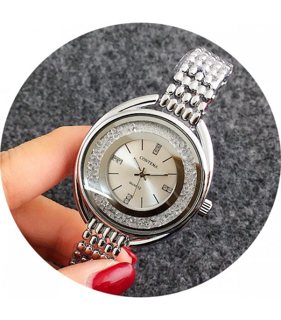 W2957 - Contena Rhinestone Silver Watch