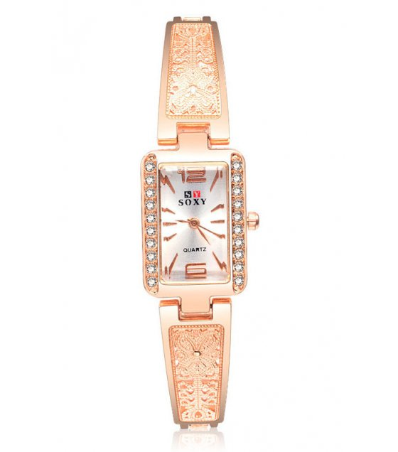 W2996 - Rose gold square dial ladies bracelet watch