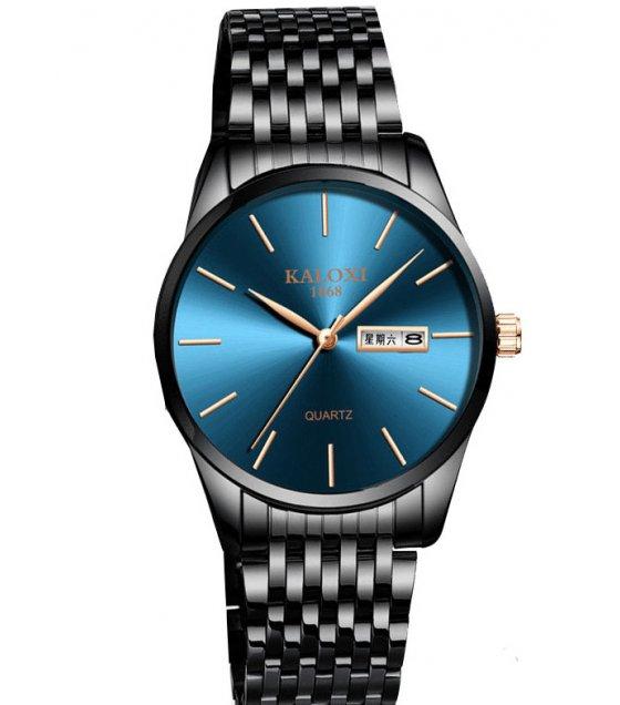W3004 - Men's simple steel belt black watch