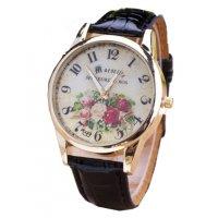 W3024 - Black Floral Women's Watch