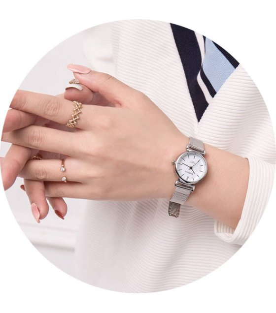 W3069 - Simple Fashion Mesh Belt Silver Watch