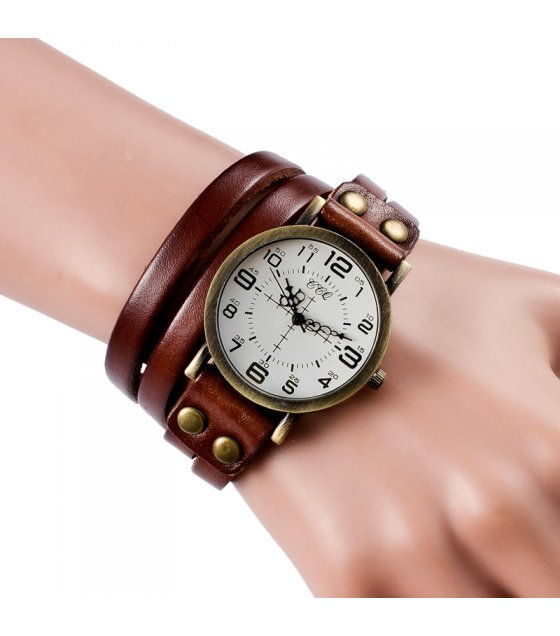 W3070 - Retro leather bracelet watch