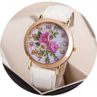W3093 - White Simple Floral Watch