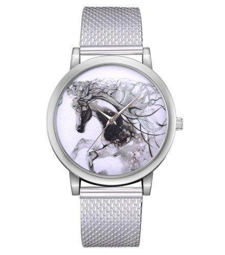 W3159 - 3D graffiti horse mesh quartz watch