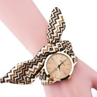 W3217 - Striped Printed Cloth With Geneva Watch