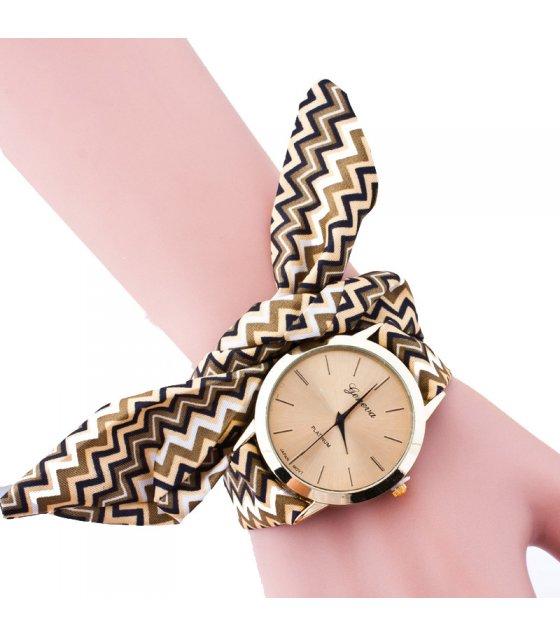 W3217 - Striped Printed Cloth With Geneva Watch
