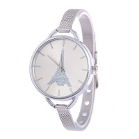 W3253 - Silver Eiffel Tower face quartz ladies watch