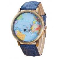 W3260 - Canvas Travel Around the World Airplane Watch