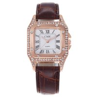 W3324 - Ladies full diamond square shell quartz watch