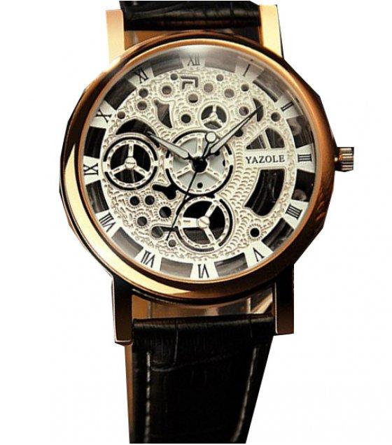 W3374 - Vintage hollow gold quartz watch