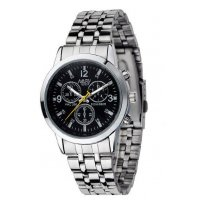 W380 - Mens black plate trendy watch