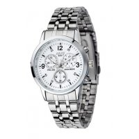W381 - Mens white plate trendy watch
