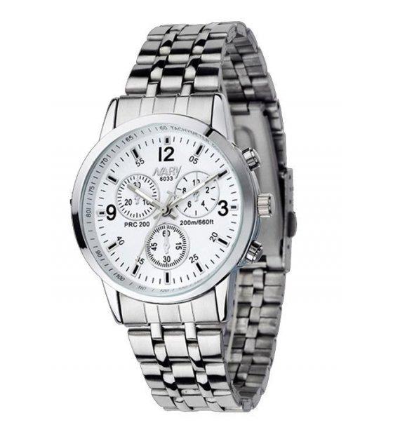 W381 - Mens white plate trendy watch