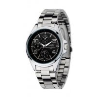 W385 - Mens black plate watch