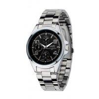 W385 - Mens black plate watch
