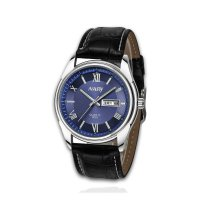 W387 - Mens Black Belt blue surface Watch