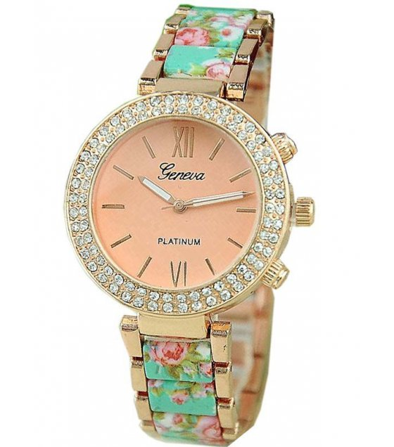 W625 - Geneva Floral Metal Band Watch
