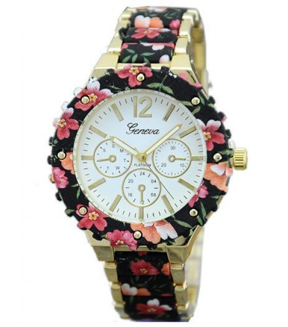 W631- Geneva Metal Floral Watch
