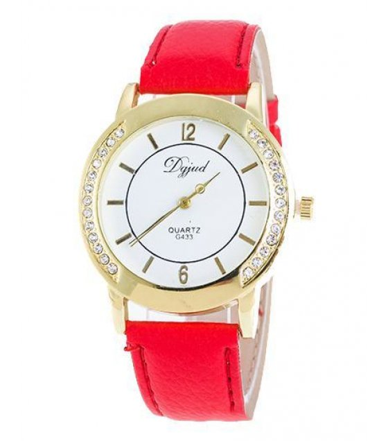 W757 - Red Strap Round Dial Watch