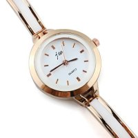 W332 - Elegant White & Gold Mixed Watch