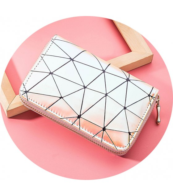WW072 - Korean Geometric Zipper Ladies Wallet