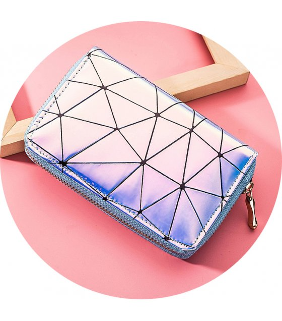 WW073 - Korean Geometric Zipper Ladies Wallet