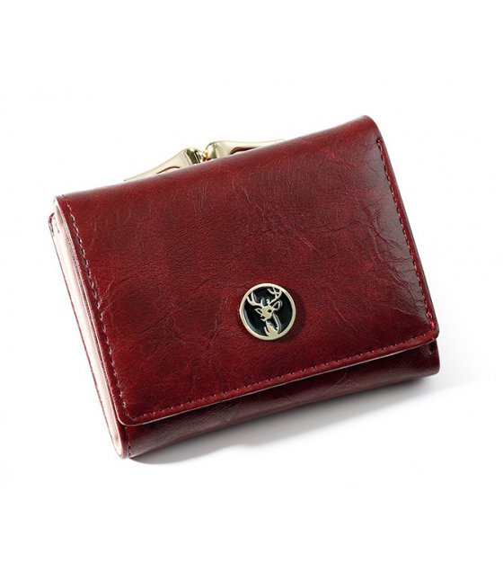 WW082 - Oil wax leather Ladies wallet
