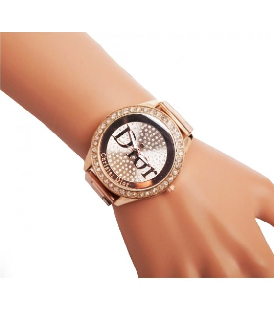 WSM178 - Dior diamond  studded  rose gold watch