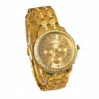 W010 - Golden Rhinestone Watch