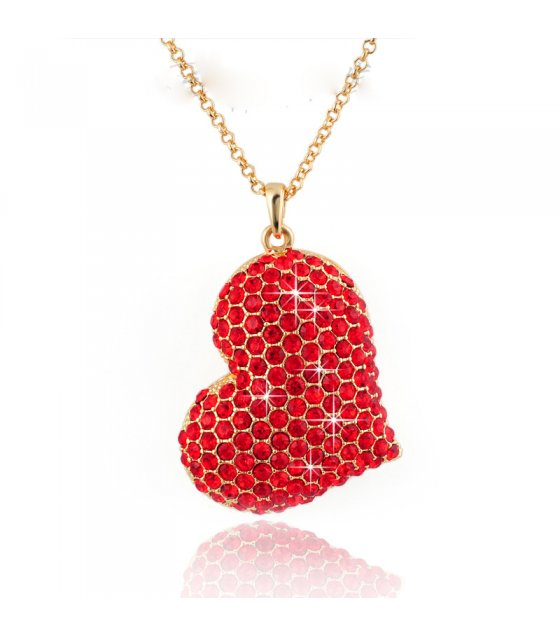N317 - Diamond Red Heart Necklace