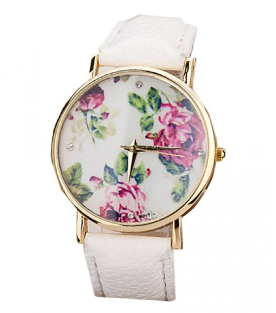 W025 - White Floral Watch