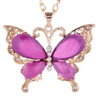 N573 -Purple Diamond Butterfly Necklace