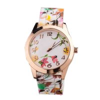 W046 - Orange Floral Watch