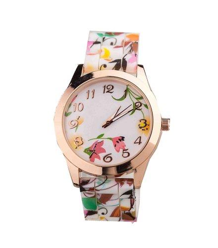 W046 - Orange Floral Watch