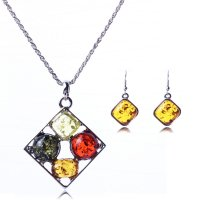 SET053 - Colorful Gem Necklace Set