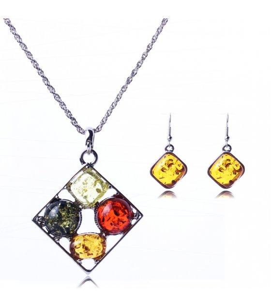 SET053 - Colorful Gem Necklace Set