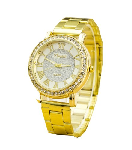 W123 - Diamond Studded Gold Watch