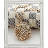 N190 - Golden gem diamond pendant Necklace