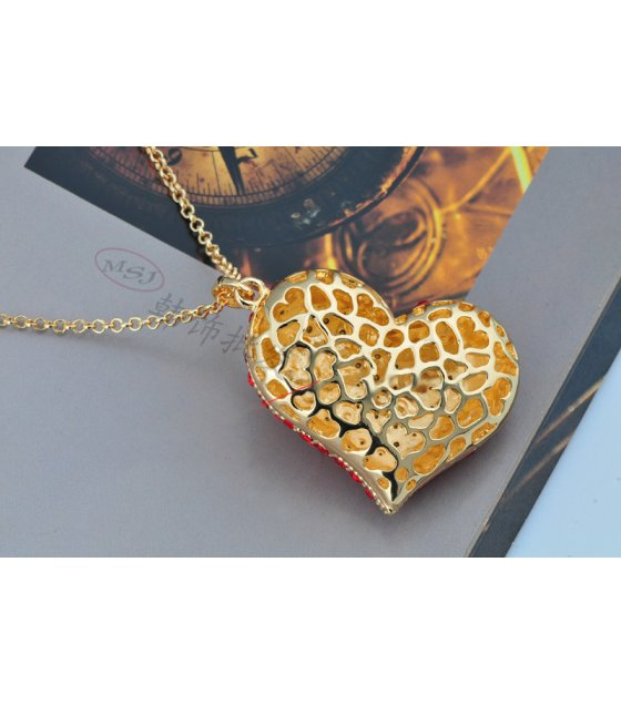 Red heart diamond necklace
