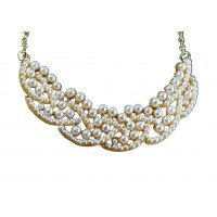 N077 - Pearl Collar Choker Necklace