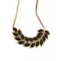 N796 - Black Leaf Choker Necklace